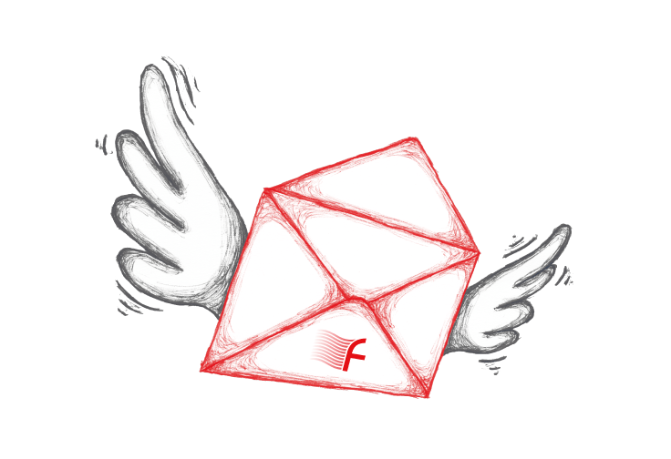illustration of an envelope with wings