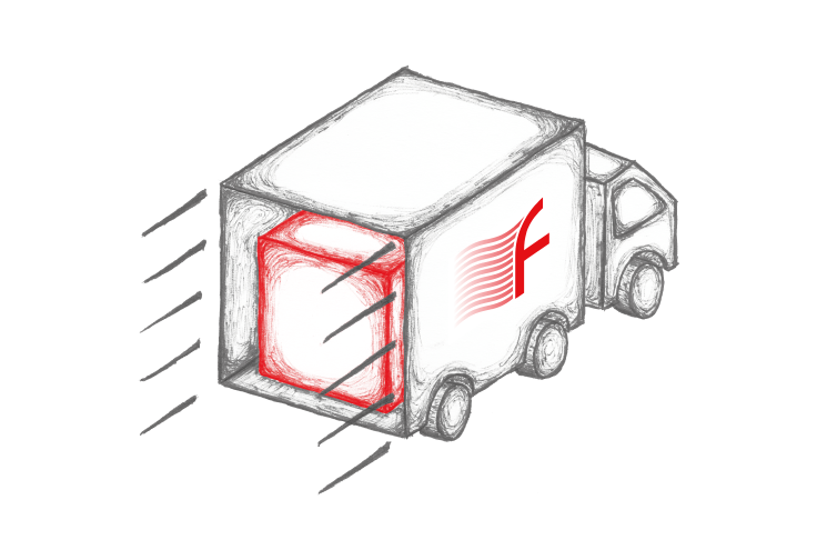 illustration of a truck delivering a Firetrace branded box